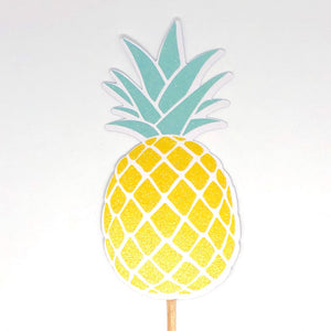 Big Glittery Pineapple Cupcake Toppers. Pineapple Birthday Party. Summer Party Decor. Fruit Cupcakes. Set of 12 Cupcake Decor.