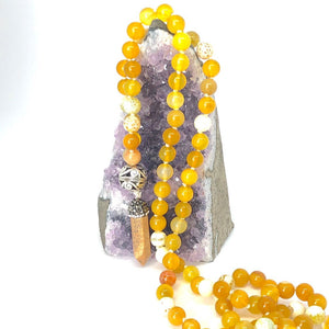 Fire Agate + Yellow Agate 108 Bead Mala Necklace. Yoga Meditation Jewelry.