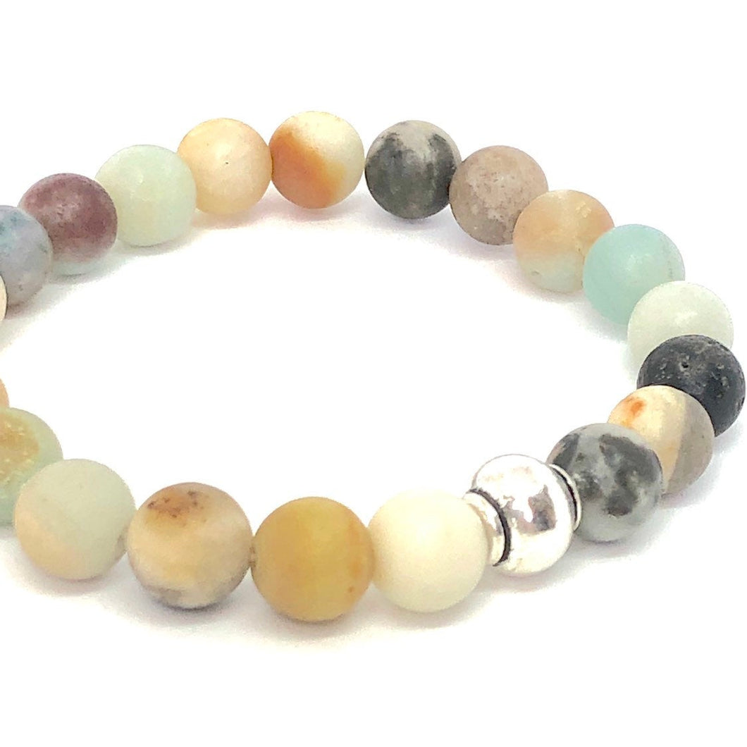 Handmade Stone Mala Stretch Bracelet - Hope / Amazonite