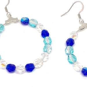 Blue Beaded Hoop Earrings. Czech Glass Earrings. Boho Style Earrings. Blue Earrings. Trendy Jewelry.