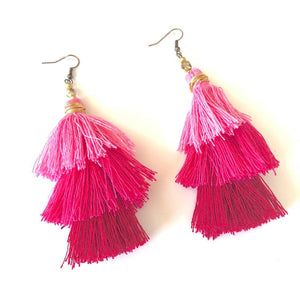 Pink 3-tier Layered Tassel Boho Earrings