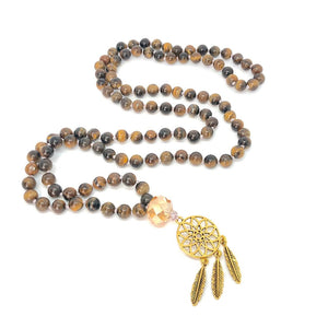 Tiger Eye + Dreamcatcher 108 Bead Mala Necklace. Yoga Meditation Jewelry.