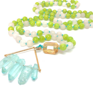 108 Bead Mala Necklace. Rose Quartz + Jade. Yoga Meditation Jewelry.