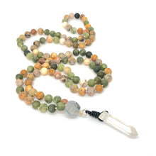 Load image into Gallery viewer, Yellow Howlite + Agate 108 Bead Mala Necklace, Yoga Meditation Jewelry. Gemstone Necklace.