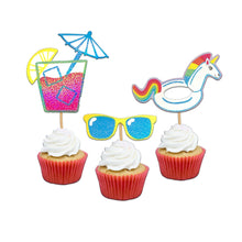Load image into Gallery viewer, Big Summertime Fun Cupcake Toppers & Stickers. Summer Party. Unicorn Birthday Party. Set of 12 Cupcake Decor. Fruity Cupcakes. Rainbows.