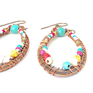 Big Hoop Earrings, Big Oval Wire Wrapped Earrings, Boho Style Earrings, Colorful Earrings