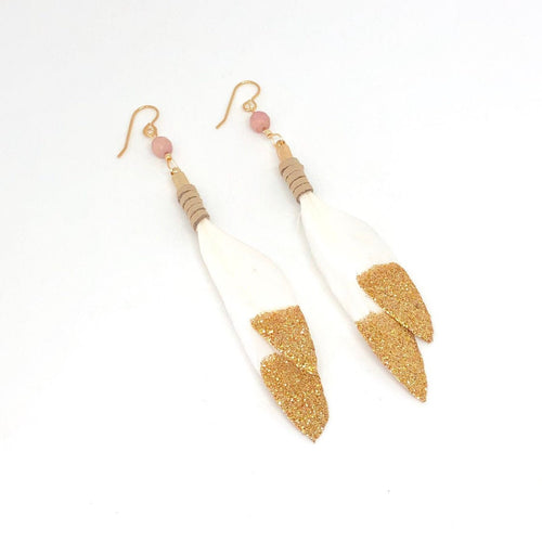 Leather Earrings, White Feathers and Gold Glitter, Feather Dangle Earrings
