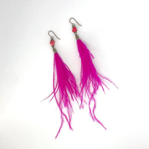 Wispy Hot Pink Feather + Stone Dangle Earrings. Boho Style Earrings. Feather Earrings.