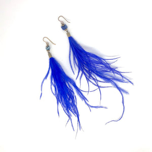 Feather Earrings, Dainty Earrings, Bright Indigo Dangle Earrings, Boho Earrings