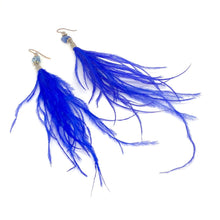 Load image into Gallery viewer, Wispy Bright Indigo Feather + Stone Dangle Earrings. Boho Style Earrings. Feather Earrings.