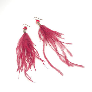 Wispy Red Feather + Stone Dangle Earrings. Boho Style Earrings. Feather Earrings.