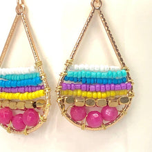 Load image into Gallery viewer, Bright Summer Vibe Colors + Gold Teardrop Beaded Wire Wrapped Dangle Earrings.