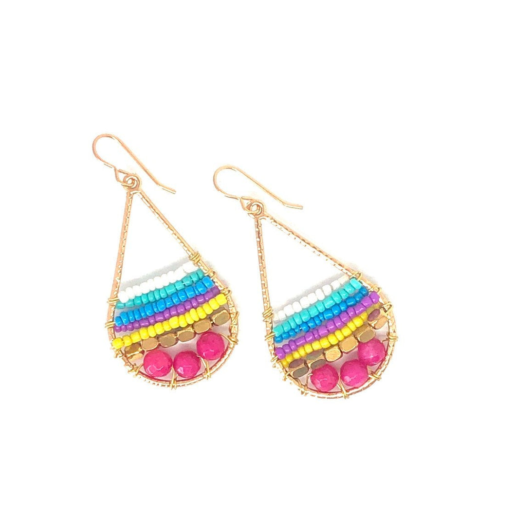 Colorful Teardrops, Bright Summer Vibe, Dangle Earrings