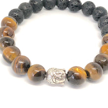 Load image into Gallery viewer, TigerEye + Lava Stone Buddha Bracelet, Healing Large Bead Bracelet, Yoga Jewelry