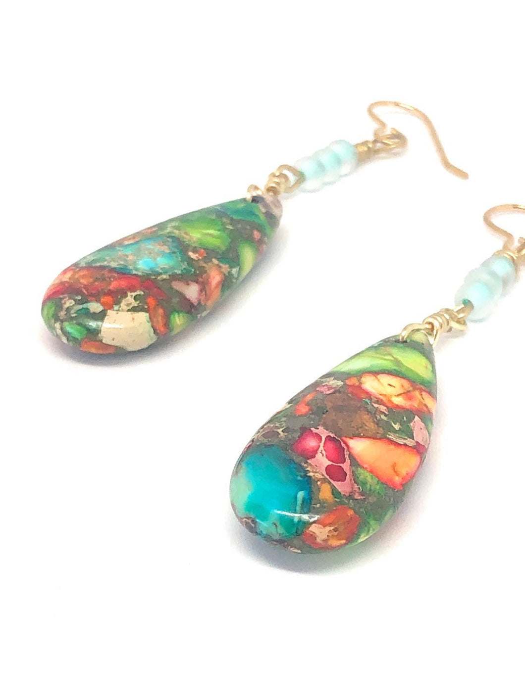 Stone Teardrop Earrings. Colorful Dangles with Frosted Teal Glass Beads. Boho Earrings.