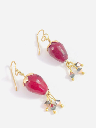 Red Drop Florals with Swarovski Crystals - Dangle Earrings