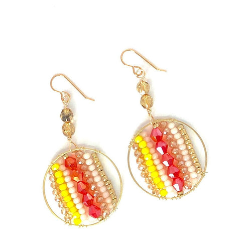 Red Yellow + Gold Circle Beaded Wire Wrapped Dangle Earrings.