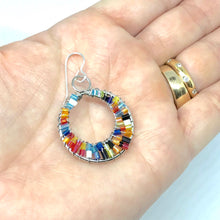 Load image into Gallery viewer, Colorful Beaded Hoop Earrings. Boho Style Earrings. Summertime Earrings.