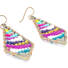 Load image into Gallery viewer, Bright Beaded Earrings, Colorful Bead Dangles, Colorful Earrings