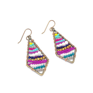 Bright Beaded Earrings, Colorful Bead Dangles, Colorful Earrings