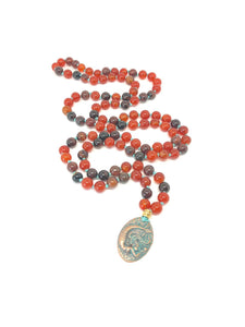 Carnelian Necklace, Burnt Orange Necklace, Agate Necklace, Mermaid Necklace, 108 Bead Mala