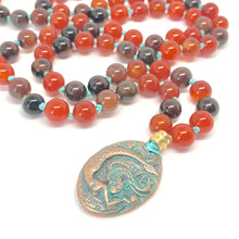 Load image into Gallery viewer, Carnelian Necklace, Burnt Orange Necklace, Agate Necklace, Mermaid Necklace, 108 Bead Mala