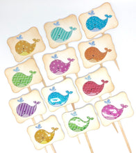 Load image into Gallery viewer, Whale Cupcake Toppers. Whale Baby Shower Cupcake Toppers. Whale Themed Party. Summertime Party Decor. Glitter Cupcakes.