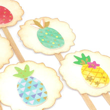 Load image into Gallery viewer, Pineapple Cupcake Toppers. Pineapple Party. Pastel Party. Fruit Party Decor. Pineapple Party Supplies.