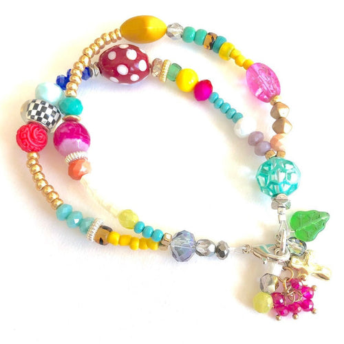 Beaded Boho Charm Bracelet. One of a Kind Bracelet. Cross Bracelet.