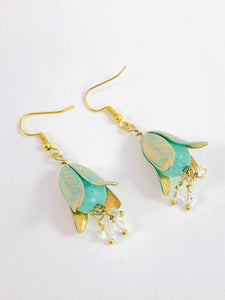 Beautiful Light Teal Magnolia Drop Swarovski Crystals - Dangle Earrings