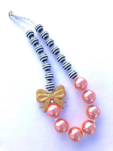 Black + White Stripes with Gold Bow and Coral Pearly Bubblegum Beads Girls Necklace
