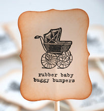 Load image into Gallery viewer, Baby Shower Cupcake Decorations. Rubber Baby Buggy Bumpers Cupcake Toppers. Vintage Style Baby Shower. Baby Carriage Baby Decor.