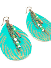 Load image into Gallery viewer, Feather Earrings. Turquoise, Gold + Green. Teardrop Leather Dangle Boho Earrings.