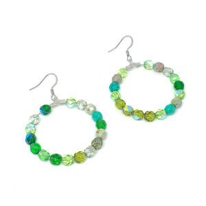 Green Beaded Hoop Earrings. Czech Glass Earrings. Boho Style Earrings.