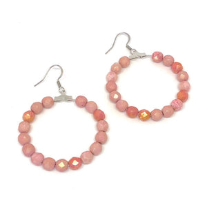 Pink Hoops, Pink Beaded Hoop Earrings, Czech Glass Earrings, Boho Style Earrings