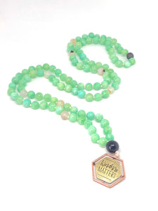 Kindness Matters Green Necklace. 108 Bead Mala Necklace. Quartzite. Marine Agate. Lave Stone.