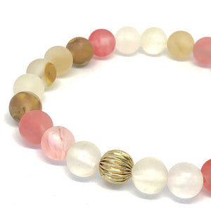 Cherry Quartz Mala Bracelet. Stretch Healing Bracelet. Yoga Jewelry for Women.