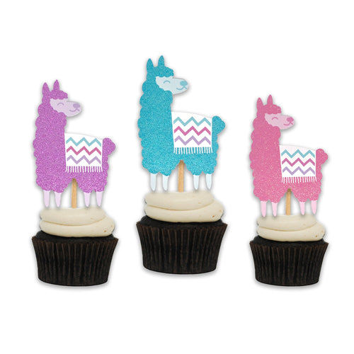 Big Glittery Llama Cupcake Toppers. Llama Birthday Party. Set of 12 Cupcake Decor. Llama Party Supplies.