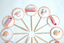 Load image into Gallery viewer, Baby Girl Cupcake Toppers, It's a Girl, Circus Animals, Baby Shower Cupcake Toppers
