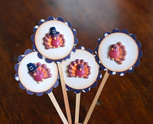 Load image into Gallery viewer, Thanksgiving Turkey Food Picks. Gobble Gobble. Thanksgiving Cupcake Toppers. Thanksgiving Decor.