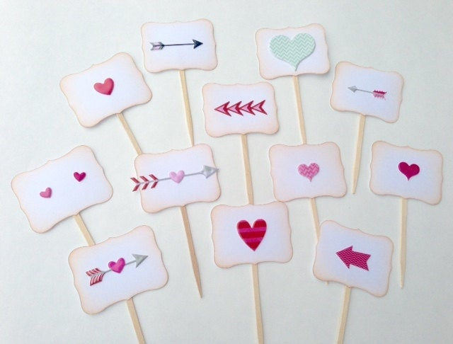 Valentines Day Cupcake Toppers. Hearts and Arrows Cupcake Toppers. Heart Decor. Valentines Decor.
