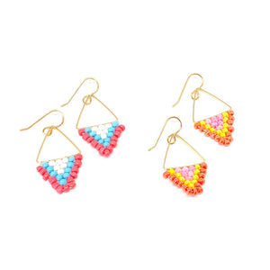 Triangle Beaded Dangle Earrings, Sherbet Earrings, Boho Vibes