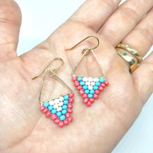 Load image into Gallery viewer, Triangle Beaded Gold Dangle Earrings. Pink Blue White Earrings. Summertime Trend.