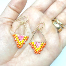 Load image into Gallery viewer, Triangle Beaded Gold Dangle Earrings. Pink Yellow Orange Earrings. Summertime Trendy.