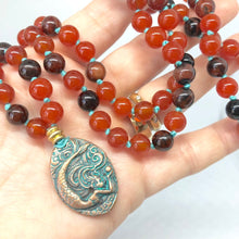 Load image into Gallery viewer, Burnt Orange Necklace. 108 Bead Mala Necklace. Mermaid Necklace.