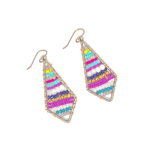 Bright Beaded Earrings. Colorful Bead Wire Wrapped Dangles. Boho Vibes. Colorful Earrings.