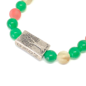 Inspirational Bracelet, Grow Strong Bracelet, Strength, Jade and Cherry Quartz