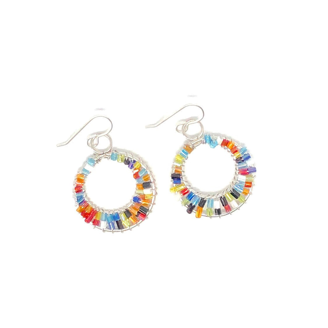 Colorful Beaded Hoop Earrings. Boho Style Earrings. Summertime Earrings.