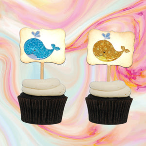 Whale Cupcake Toppers. Whale Baby Shower Cupcake Toppers. Whale Themed Party. Summertime Party Decor. Glitter Cupcakes.