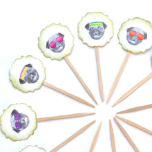 Load image into Gallery viewer, Pug Life Funny Cupcake Toppers. Pug Party. Dog Cupcake Decor.